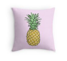 Yellow Pineapple Print Throw Pillow