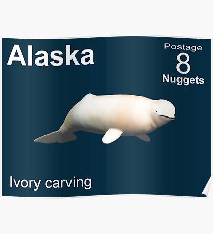 Alaska Beluga Whale Postage Poster