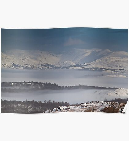 Inversion over snowy lake Windermere Poster
