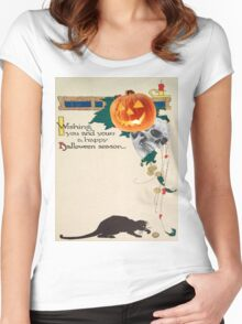 Black Cat (Vintage Halloween Card) Women's Fitted Scoop T-Shirt