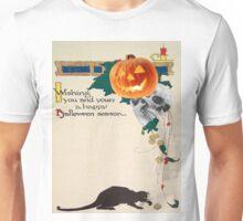 Black Cat (Vintage Halloween Card) Unisex T-Shirt