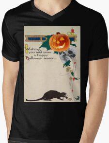 Black Cat (Vintage Halloween Card) Mens V-Neck T-Shirt