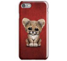 Cute Baby Cheetah Cub on Red iPhone Case/Skin