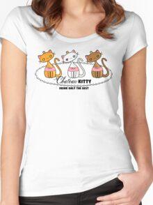 Kawaii Chateau Kitty Wine Bottle  Women's Fitted Scoop T-Shirt