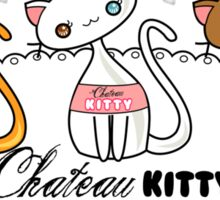 Kawaii Chateau Kitty Wine Bottle  Sticker