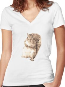 Squirrel t-shirt Women's Fitted V-Neck T-Shirt