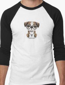 Cute English Bulldog Puppy Wearing Glasses on Pink Men's Baseball ¾ T-Shirt