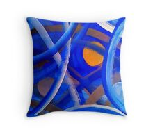 Blu Brush Throw Pillow
