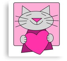 Cute Cat with Pink Heart Canvas Print
