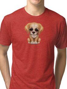 Cute Golden Retriever Puppy Dog on Red Tri-blend T-Shirt