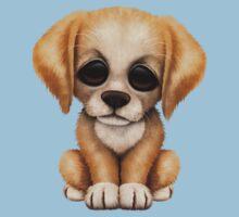 Cute Golden Retriever Puppy Dog on Teal Blue One Piece - Short Sleeve