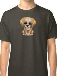 Cute Golden Retriever Puppy Dog on Teal Blue Classic T-Shirt