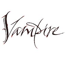 Elegant Vampire Hand Lettering Calligraphy - Scratched Blood - Halloween Photographic Print