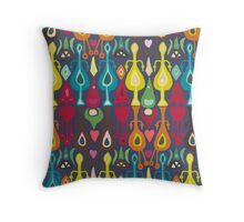 indigo love ikat Throw Pillow