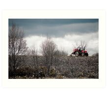 A Red Farm Vehicle on Wastelands, Hokkaido, Japan Art Print