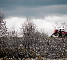 A Red Farm Vehicle on Wastelands, Hokkaido, Japan by holawholaw
