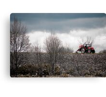 A Red Farm Vehicle on Wastelands, Hokkaido, Japan Canvas Print
