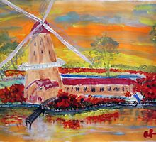 Wild Tulips and an Old Dutch Windmill by Alison Pearce