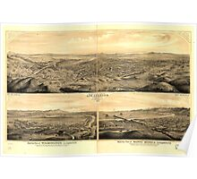 Panoramic Maps Birds eye view of Los Angeles California Poster