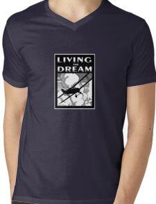 Living the Dream biplane Mens V-Neck T-Shirt
