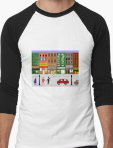 Retro City Street Scene Watercolor1950's Men's Baseball ¾ T-Shirt