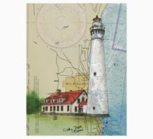 Wind Pt Lighthouse WI Nautical Chart Cathy Peek Kids Clothes