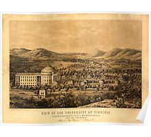 Panoramic Maps View of the University of Virginia Charlottesville Monticello taken from Lewis Mountain Poster
