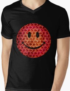 Smiley face - Escher graphic pattern Mens V-Neck T-Shirt