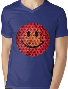 Smiley face - Escher graphic pattern Mens V-Neck T-Shirt