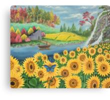 Sun flower landscape Canvas Print