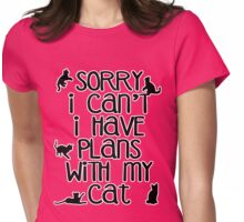 Cat Person Humor - Sorry I Can't Womens Fitted T-Shirt