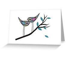 Retro Bird Art 2 Paisley Birds On Tree Branch Greeting Card
