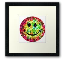 Smiley face - retro Framed Print