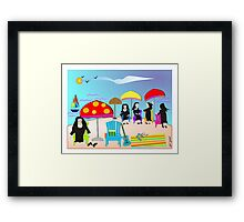 "Whimsical Nun Art  ""At The Beach"" Framed Print"