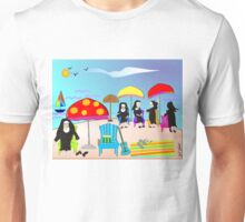 "Whimsical Nun Art  ""At The Beach"" Unisex T-Shirt"