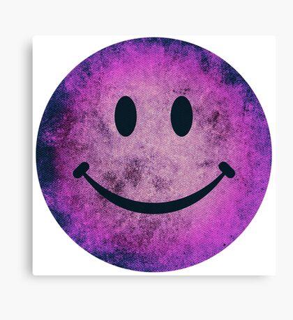 Smiley face - purple grunge Canvas Print