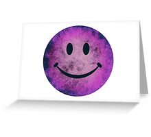 Smiley face - purple grunge Greeting Card