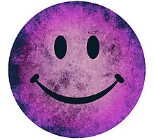 Smiley face - purple grunge Photographic Print