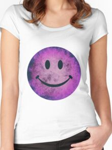 Smiley face - purple grunge Women's Fitted Scoop T-Shirt