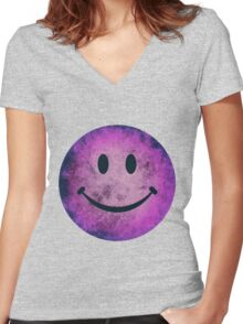 Smiley face - purple grunge Women's Fitted V-Neck T-Shirt