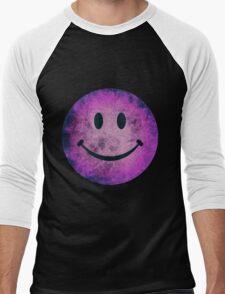 Smiley face - purple grunge Men's Baseball ¾ T-Shirt