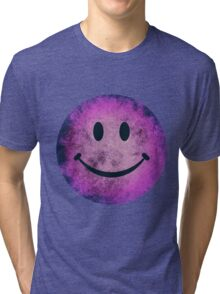 Smiley face - purple grunge Tri-blend T-Shirt