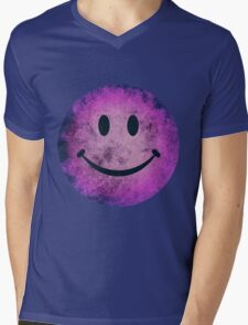 Smiley face - purple grunge Mens V-Neck T-Shirt