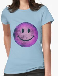 Smiley face - purple grunge Womens Fitted T-Shirt