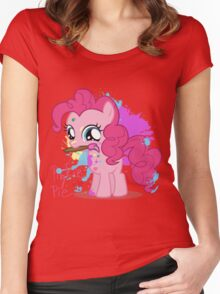 Pinkie Pie Color Splatter Women's Fitted Scoop T-Shirt