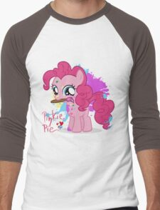 Pinkie Pie Color Splatter Men's Baseball ¾ T-Shirt