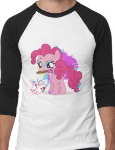 Pinkie Pie Color Splatter Men's Baseball ¾ T-Shirt
