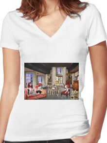 LOST IN DOLL LAND Women's Fitted V-Neck T-Shirt