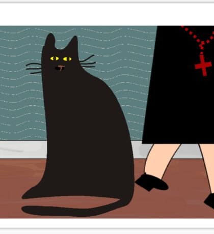 """""""The Nun and the Cat"""" Sticker"""