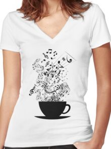 Cup of Music Women's Fitted V-Neck T-Shirt